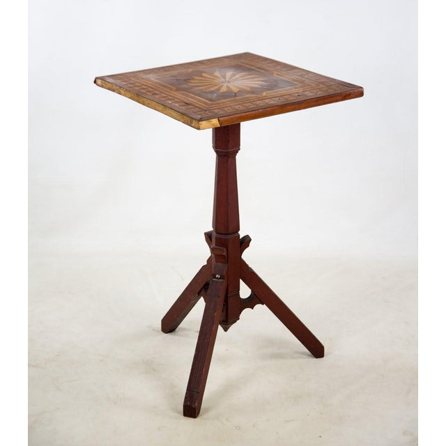 Traditional 19th C. Victorian Tilt-Top Marquetry Occasional Table For Sale - Image 3 of 13