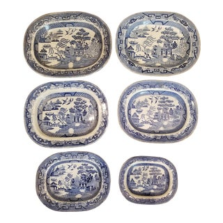 Gallery Wall Victorian Blue Willow Christmas Platters Set of 6 For Sale