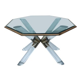 "Charle Hollis Jones ""Post & Truss"" Lucite and Brass Dining Table For Sale"