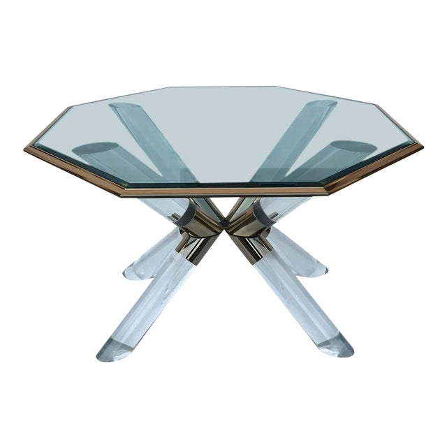 """Charle Hollis Jones """"Post & Truss"""" Lucite and Brass Dining Table For Sale"""