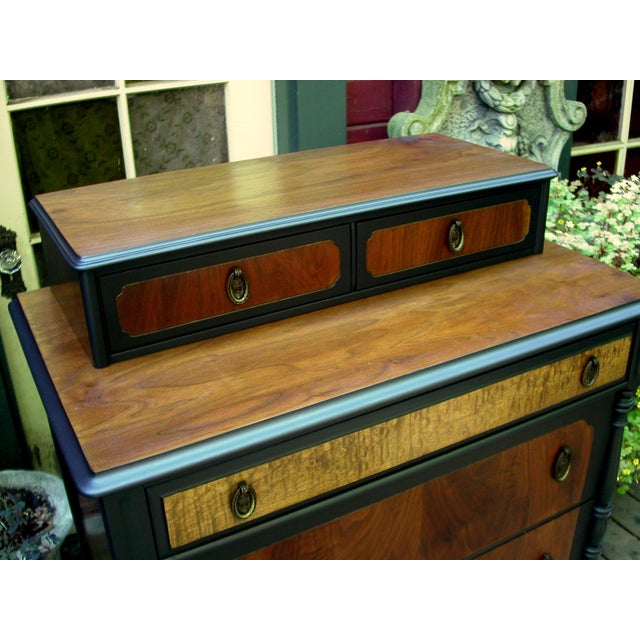National Furniture Company Heirloom Walnut Highboy Dresser For Sale - Image 9 of 11
