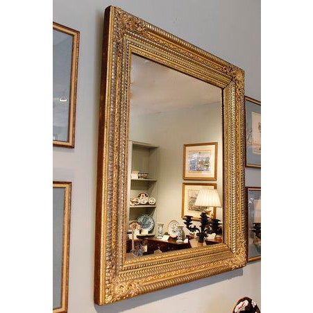 19th Century German Ripple Carved Gilded Mirror For Sale - Image 5 of 7