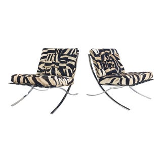 Vintage Barcelona Style Patchwork Zebra Hide Chairs - A Pair