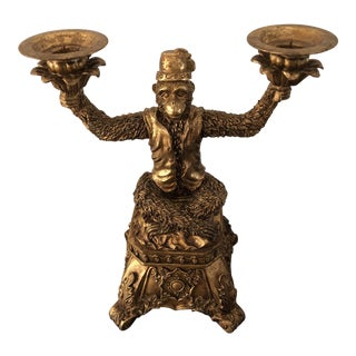 1990s Art Deco Golden Monkey Candleholder