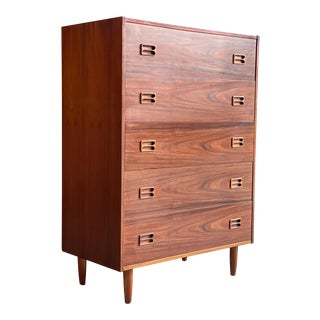 Bernhard Pedersen Rosewood Tallboy Chest of Drawers, Denmark, circa 1960 For Sale