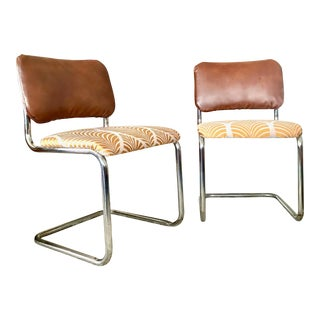 1970s Vintage Marcel Breuer Style Cantilever Chairs- a Pair For Sale