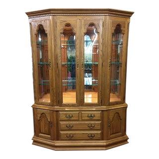 1990s Traditional Keller Solid Oak Lighted Hutch Cabinet For Sale