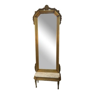 Victorian Style Gilt Pier Mirror With Marble Pedestal Base For Sale