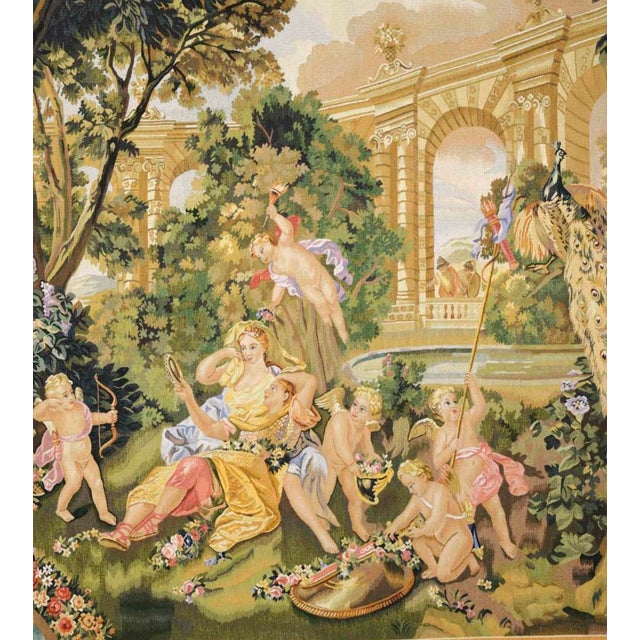 Recreation of a classical Gobelins design of cherubs and a young couple, in an opulent garden setting of lush crops in a...