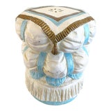 Image of Vintage Hollywood Regency Style Fiberglass Puffy Stacked Pillow Garden Stool With Tassel, Rope and Fringe Detials For Sale