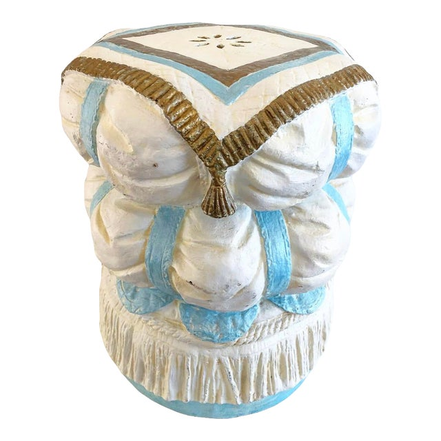 Vintage Hollywood Regency Style Fiberglass Puffy Stacked Pillow Garden Stool With Tassel, Rope and Fringe Detials For Sale