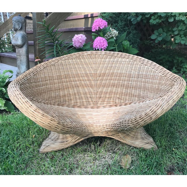 Metal 1970s Boho Chic Wicker Meditation Chair For Sale - Image 7 of 9