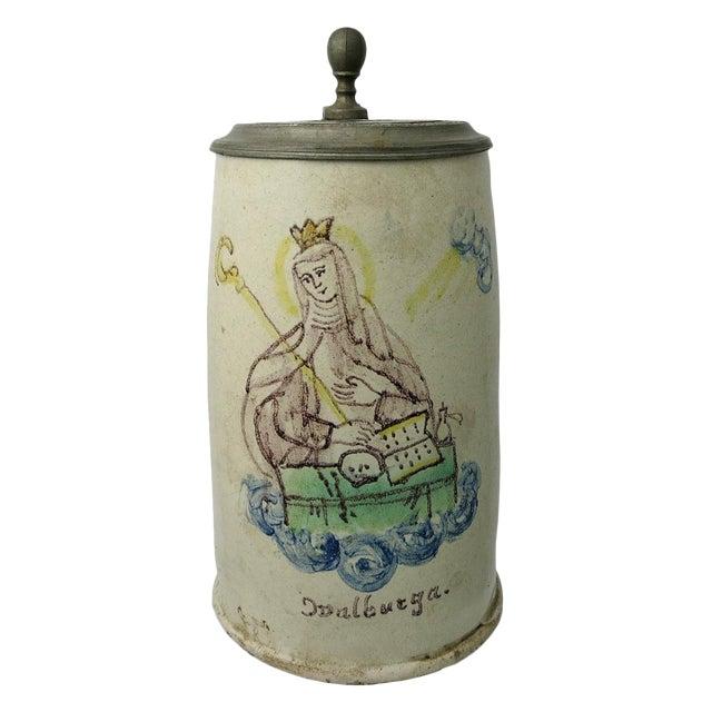 Early 18th Century German Stein St. Walburga Beer Tankard For Sale