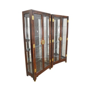 Asian Style Pair of Lighted Curio Display Cabinets