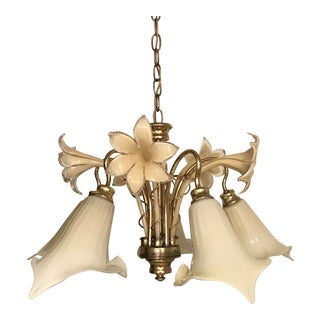 Vintage Mid Century Italy Murano Glass Flower Chandelier For Sale