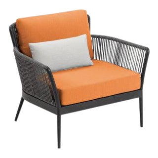 Outdoor Club Chair, Carbon, Tangerine and White For Sale