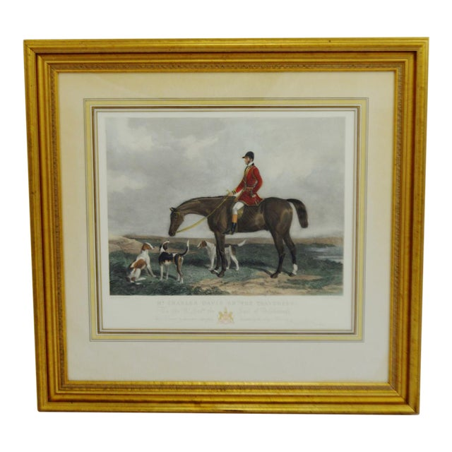 "Color Print of Edward Hacker's Engraving of W & H. Barraud's Original Painting Mr. Charles Davis on ""The Traverser"" For Sale"
