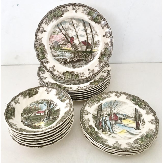 """1950's Johnson Brothers English """"Friendly Village"""" Dinnerware - Set of 17 For Sale - Image 13 of 13"""