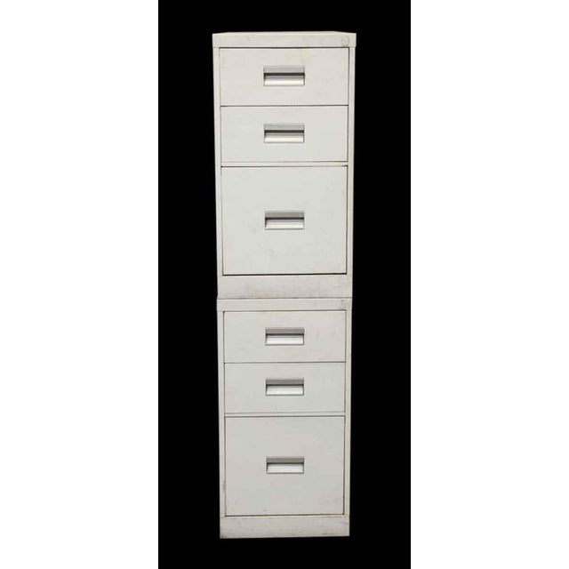 Industrial Stackable White Metal Filing Cabinet For Sale - Image 3 of 9