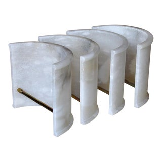 1930s Art Deco Era Natural Alabaster Shades for Wall Sconces - Set of 4 For Sale