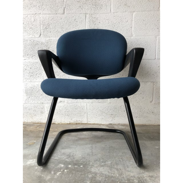 Blue Vintage 1990s Herman Miller Avian Sled Base Side Chairs (A Pair) For Sale - Image 8 of 13