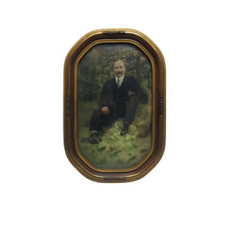 """Vintage Bubble Glassed Framed Color Photograph, """"Well Dressed Gentleman"""", Circa 1910 For Sale"""