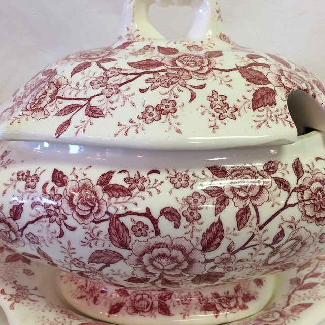 Pink Antique English Rose Transferware Tureen With Underplate - 3 Piece Set For Sale - Image 8 of 12