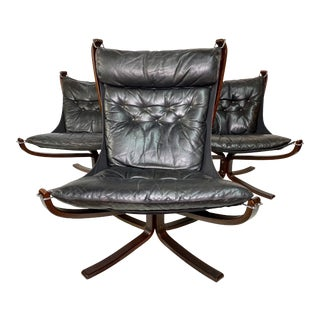 Sigurd Ressel Falcon Leather Lounge Chairs Set by Vatne Mobler - Set of 3 For Sale