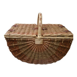 1960s Rustic Wicker Picnic Basket For Sale