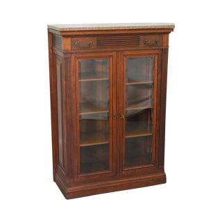 Antique Victorian Walnut Marble Top 2 Door Bookcase