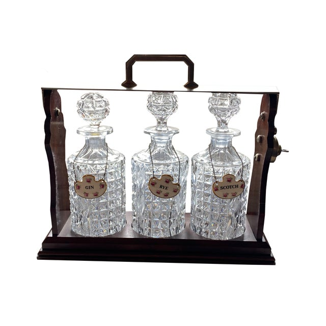 Tantalus With Three Bottles and Key For Sale - Image 4 of 4