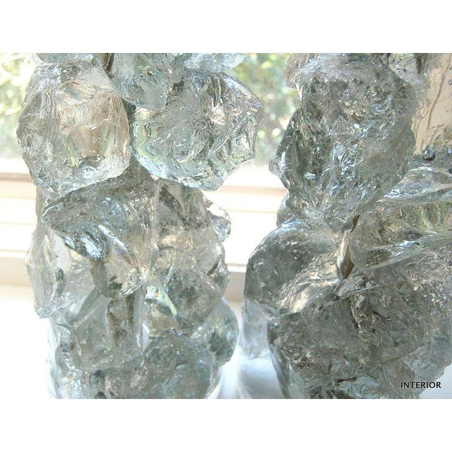 Glass Rock Table Lamps by Swank Lighting Clear Ice- A Pair For Sale In Little Rock - Image 6 of 9