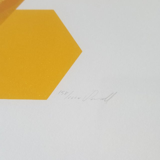 """Paper 1960s """"Bees and Hexagons"""" Minimalist Serigraph, Framed For Sale - Image 7 of 10"""