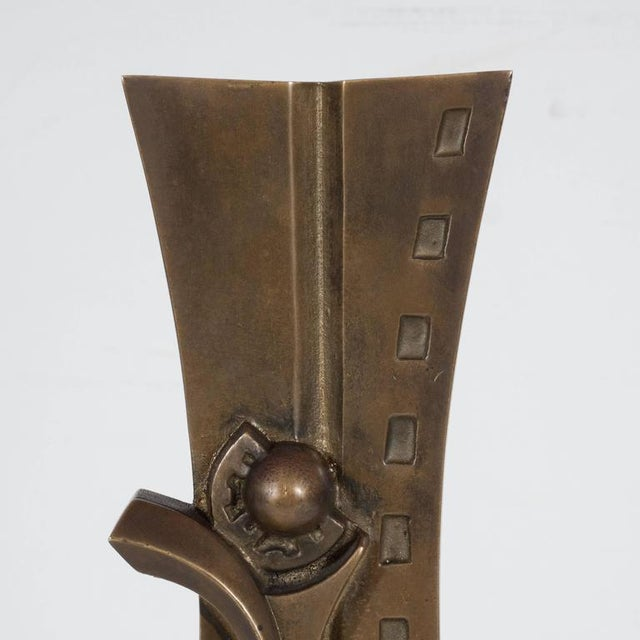 Gold Mid-Century Modern Sculpture in Patinated Bronze and Marble by S. Monachesi For Sale - Image 8 of 10
