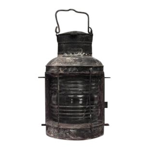 American Country style (19th Cent) iron and glass half round ships embarkment lantern