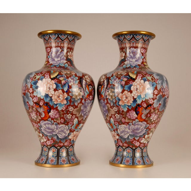 """A tall pair 25.9"""" inches colourful Chinese cloisonne vase. Enamel on gilded bronze. Embellished with birds, butterflies..."""