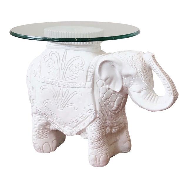 Glass Top Elephant Figure Side Table For Sale
