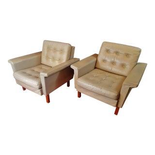 Danish Modern Mid Century Modern Light Grey Leather Chairs - a Pair