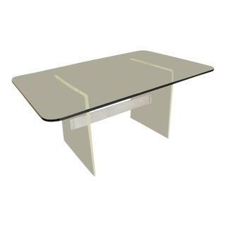 Mid Century Modern Thick Glass Top Lucite Base Conference/Dining Table For Sale
