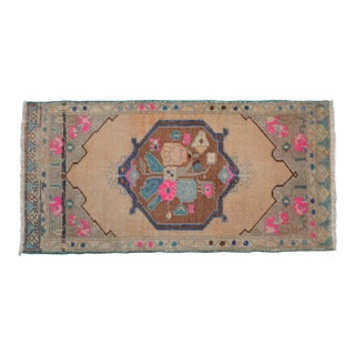 "Hand Made Mini Rugs Front of Kitchen Sink Rug Bath Mat Distressed Rug 1'10"" X 3'9"" For Sale"