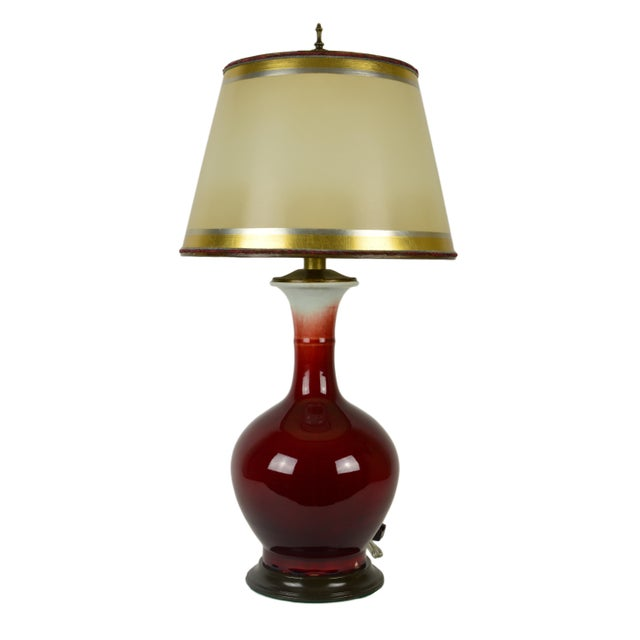 Chinese Blood Red Porcelain Vase Lamp - Image 1 of 4