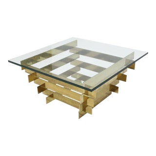 Bronze Base Glass Top Mid-Century Modern Square Coffee Table For Sale