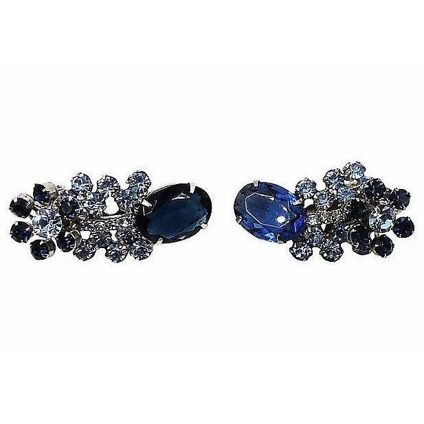 Gemstone 1960s Delizza & Elster Rhinestone Earrings For Sale - Image 7 of 8