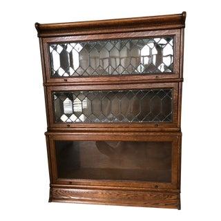 Antique Globe-Wernicke Leaded Glass Door Oak Barrister Bookcase For Sale