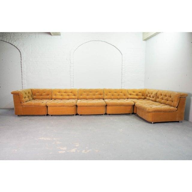 Mid-Century Design Peach Velvet Modular Lounge Sofaset, 6 Elements, Dreipunkt, Germany, 1970s For Sale - Image 11 of 11