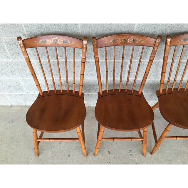 L. Hitchcock Set of 4 Windsor Solid Maple Side Chairs, Harvest Paint Decorated, Excellent Vintage Furniture Condition,...