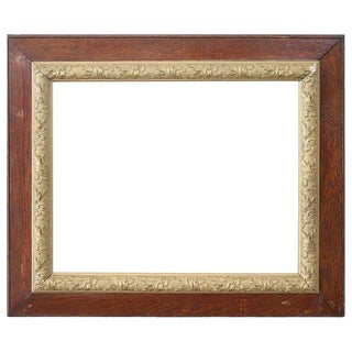 20th Century Italian Oakwood Frame With Golden Decoration For Sale
