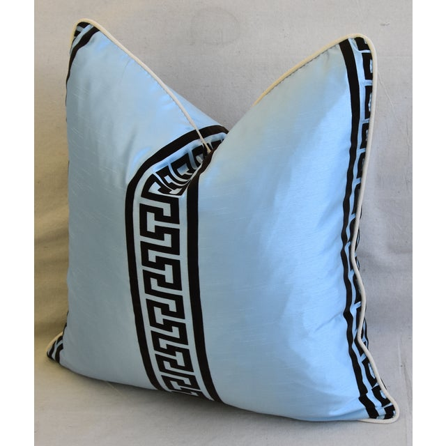 """Blue Dupioni Satin Silk Greek Key Feather/Down Pillows 23"""" Square - Pair For Sale - Image 11 of 13"""