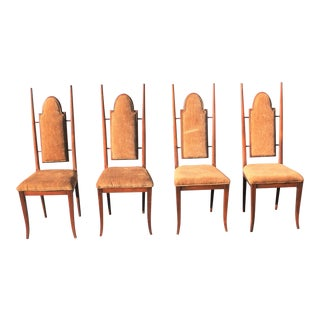 1940s French Art Deco Solid Mahogany Dining Chairs - Set of 4 For Sale