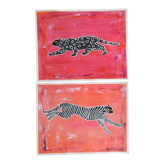Abstract Leopard Tiger Chinoiserie Pair by Cleo Plowden For Sale